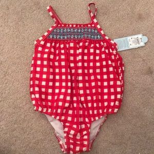 Red and white smocked gingham bubble swimsuit